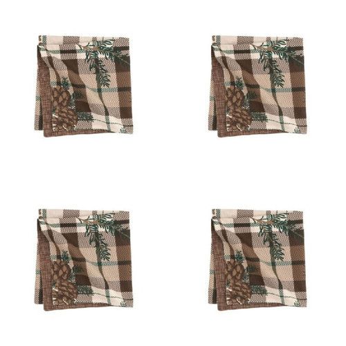 Lookout Lodge Pine Cones Brown Plaid Cloth Napkins Set of 4 Kitchen Dining Table