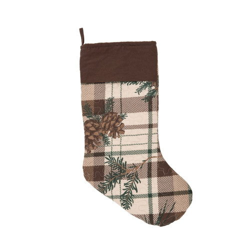 Lookout Lodge Pine Cones Brown Plaid Christmas Holiday Stocking Quilted