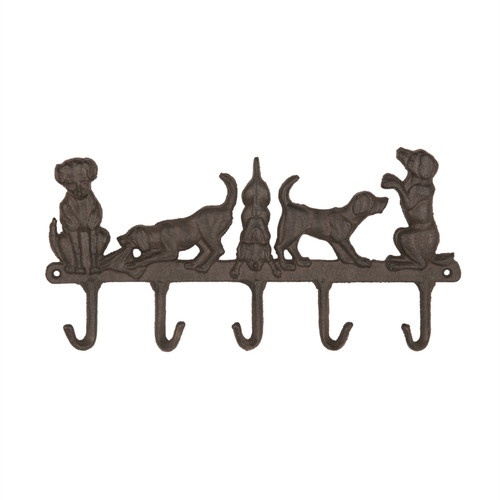 Puppy Dogs Family Pets Wall Hooks Cast Iron