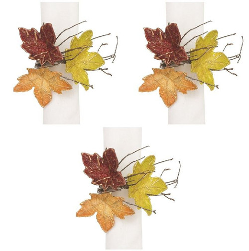 Autumn Leaves Shaped Fall Napkin Rings Set of 3 Kitchen or Dining