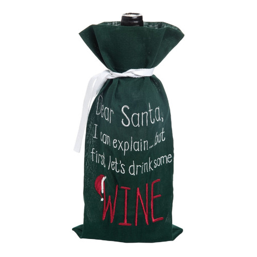 Dear Santa I Can Explain But First Lets Drink Wine Bottle Fabric Gift Bag