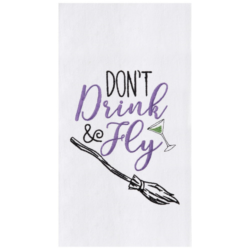 Dont Drink and Fly Witches Broom Fun Halloween Kitchen Dish Towel