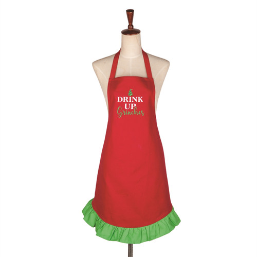Drink Up Grinches Christmas Holiday Kitchen Ruffled Apron Red and Green
