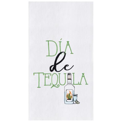 Dia De Tequila Embroidered Flour Sack Kitchen Dish Towel