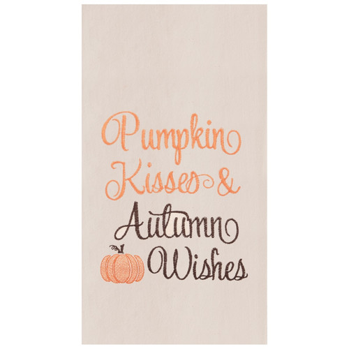 Pumpkin Kisses and Autumn Wishes Embroidered Fall Kitchen Dish Towel