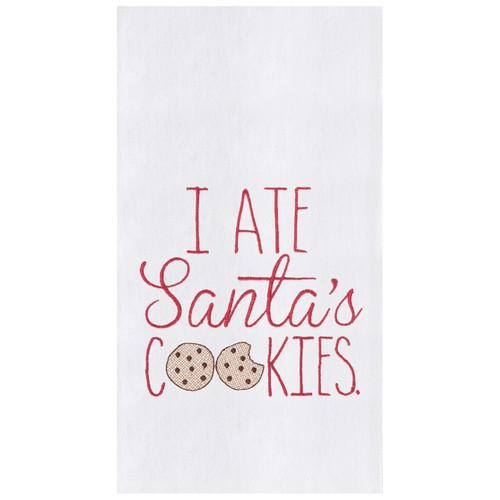 I Ate Santas Cookies Embroidered Flour Sack Kitchen Dish Towel