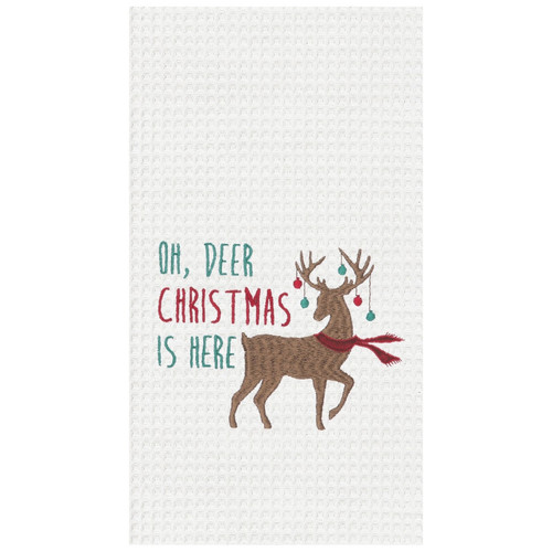 Oh Deer Christmas is Here Reindeer with Ornaments Holiday Kitchen Dish Towel