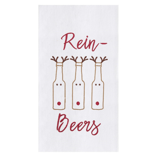 Rein Beers Christmas Holiday Embroidered Flour Sack Kitchen Dish Towel
