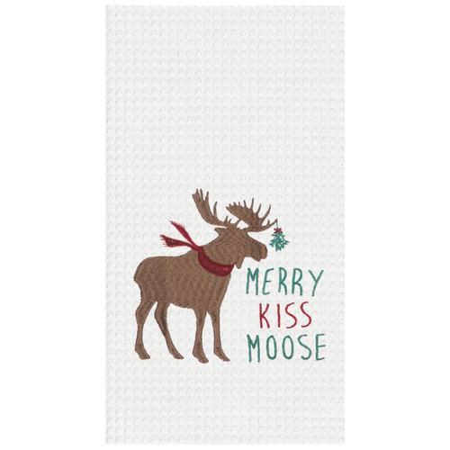Merry Kiss Moose Waffle Weave Christmas Holiday Kitchen Dish Towel