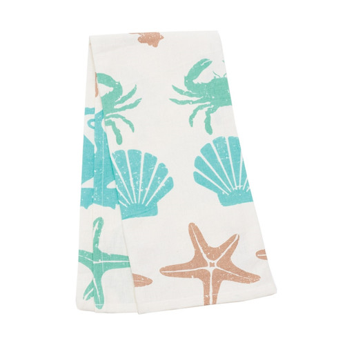 By the Sea Shells Starfish Crabs Seahorses Printed Kitchen Dish Towel