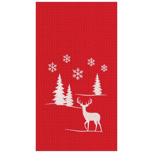 Sleigh Ride In Winter Wonderland Red Holiday Waffle Weave Kitchen Dish Towel