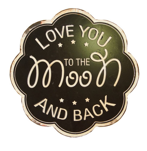 Love You to the Moon and Back Scalloped Wall Plaque Metal 10.5 Inches