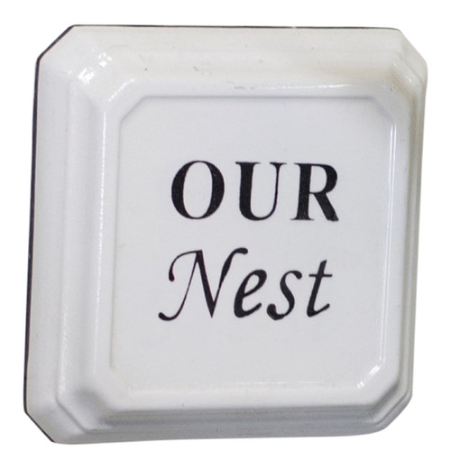 Our Nest Enameled Metal Wall Plaque Black and White