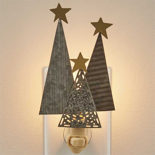 Holiday Trees With Stars Christmas  Night Light Electric Galvanized Metal
