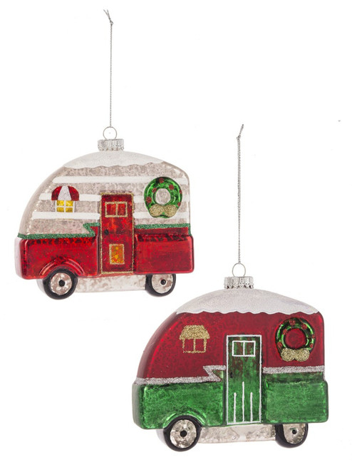 Christmas Campers Red and Green Holiday Ornaments Set of 2 Glass