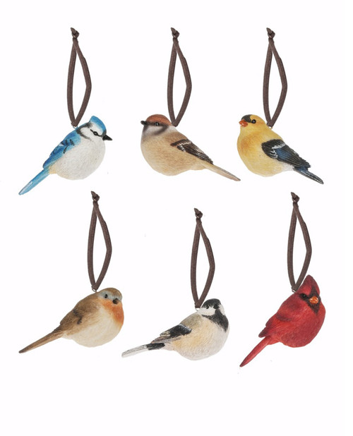 Christmas Morning Backyard Song Birds Holiday Ornaments Set of 6