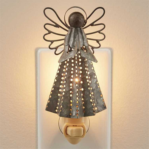 Winged Angel Night Light 7 Watt Electric Galvanized Metal
