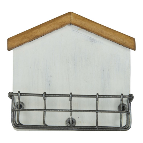 House Shaped Business Card Holder Metal and Wood