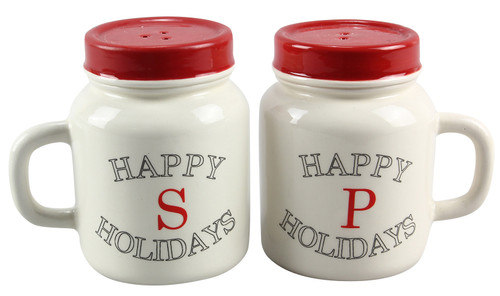Mason Jar Shape Red and White Happy Holidays Salt and Pepper Shakers Ceramic