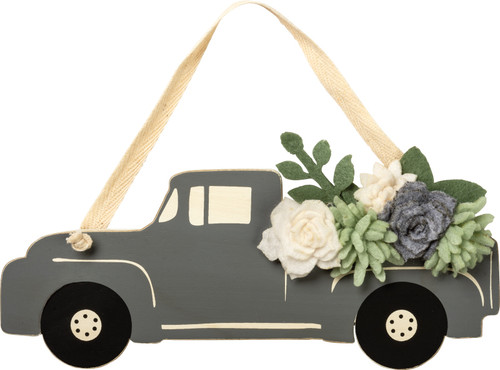 Gray Pickup Truck Filled with Flowers Hanging Decor Wood