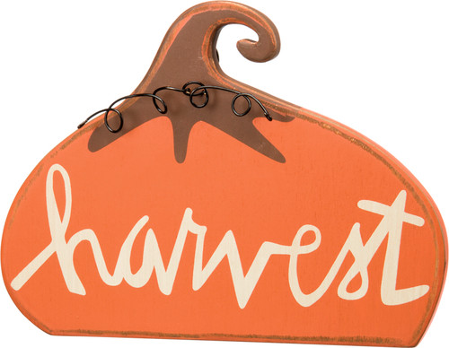 Harvest Pumpkin Chunky Sitter Carved Wood 8.5 Inches