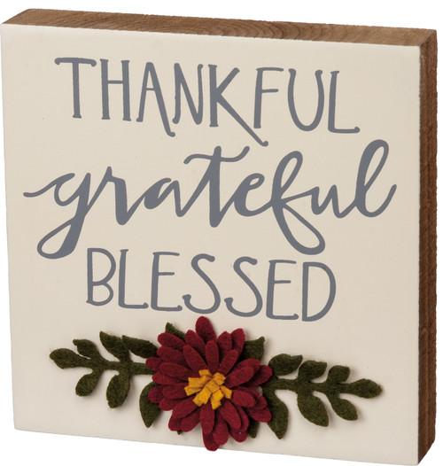 Thankful Grateful Blessed Fall Felt Flowers on Wood Block Sign