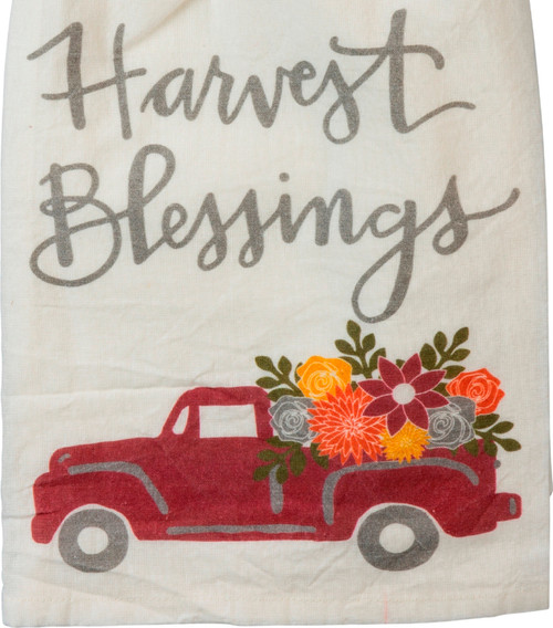 Harvest Blessings Red Pickup Truck with Flowers Kitchen Dish Towel
