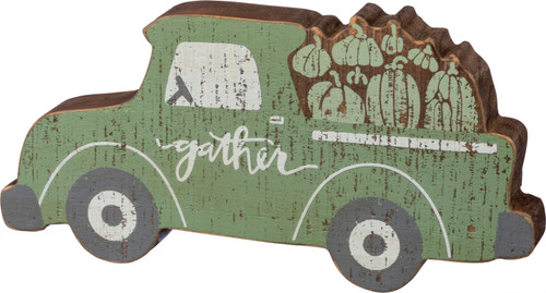 Gather Green Pickup Truck Fall Chunky Sitter Wood