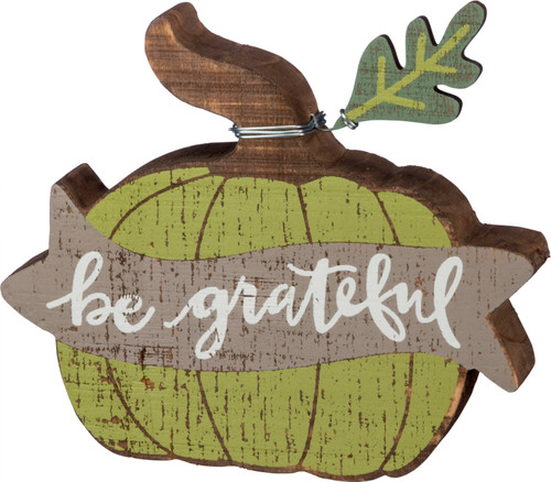 Be Grateful Carved Pumpkin Chunky Sitter Painted Wood Green