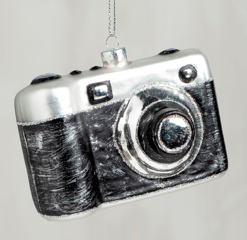 Retro Style Camera Christmas Holiday Ornament Glass