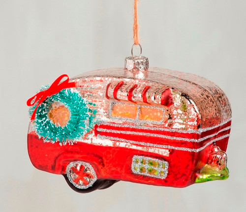 Red Camper Christmas Holiday Ornament Glass