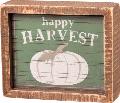 Happy Harvest Pumpkin Stained Frame Inset Box Sign