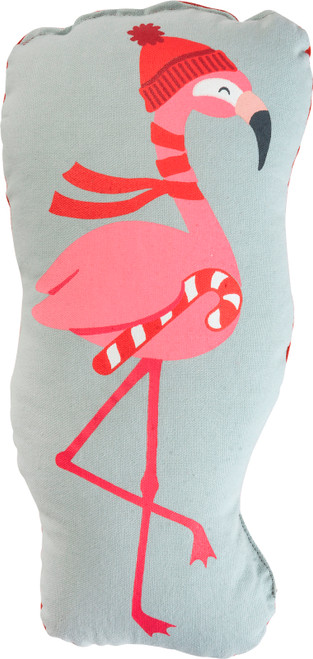 Christmas Flamingo In Stocking Hat Shaped Accent Pillow 15 Inches