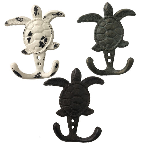 Sea Turtles Double Wall Hooks Set of 3 Cast Iron 4.75 Inches