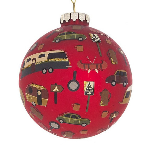Camper Icons Red Christmas Holiday Ornament Glass Ball 3.5 Inches