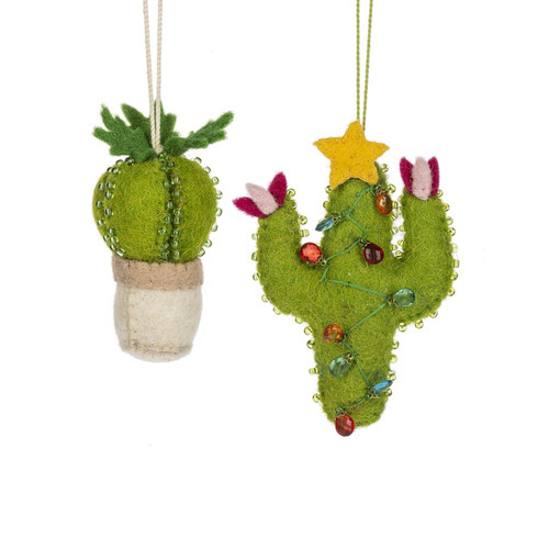 Green Cactus Christmas Holiday Ornaments Set of 2 Felt