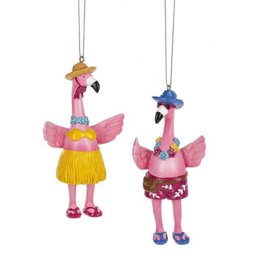 Boy and Girl Flamingos Christmas Holiday Ornaments Set of 2 Resin