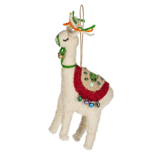 Jolly Llama Christmas Holiday Ornament Wool 7.5 Inches