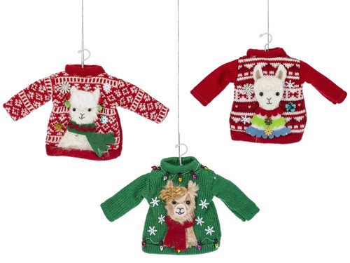 Llamas on Ugly Sweaters Christmas Holiday Ornaments Set of 3 Knitted 8.5 Inches