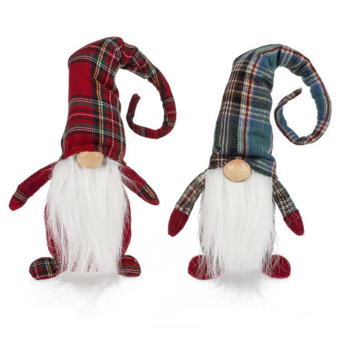 Holiday Gnomes in Red and Green Plaid Hats Tabletop Figurines Set of 2