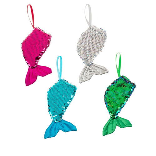 Mermaid Tail Christmas Holiday Ornaments Set of 4 Pink Green Blue Silver