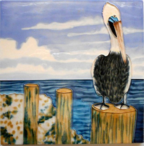 Pelican by the Bay Perched on Piling 8X8 Inch Ceramic Tile
