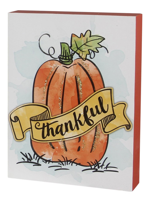 Glittered Pumpkin Thankful Fall Block Tabletop Sign Wood 8 Inches
