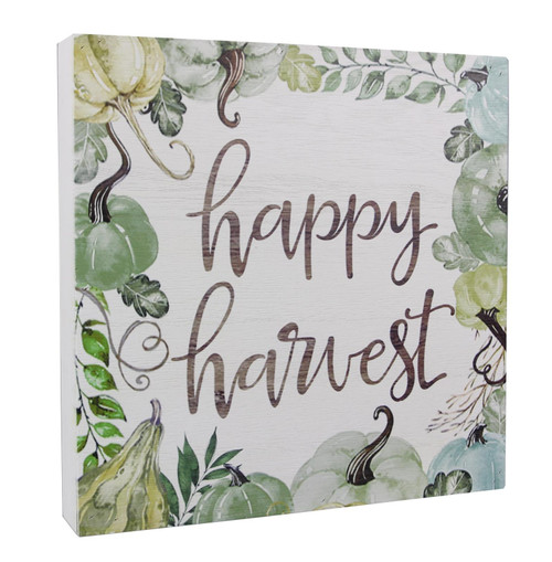 Pumpkins and Gourds Happy Harvest Fall Tabletop Block Sign Wood 9.5 Inches