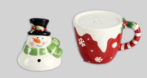 Melting Snowman Stacked on Cup Salt and Pepper Shaker Set Ceramic