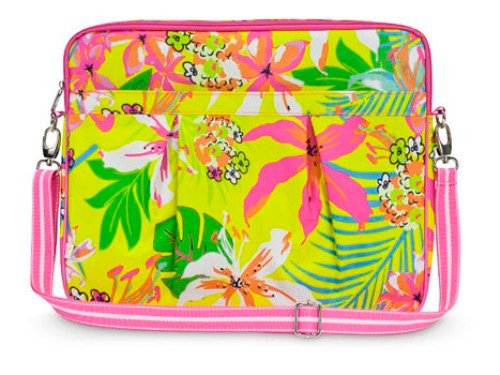 Hot Pink and Yellow Tropical Flowers Large Laptop or Tablet Carrying Case