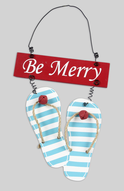 Be Merry Flip Flop Sandals Christmas Holiday Ornament Wood 7.25 Inches