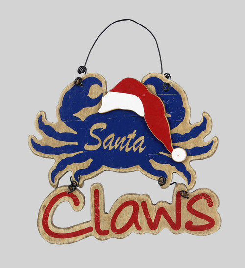 Santa Claws Blue Crab in Hat Christmas Holiday Ornament 6 Inches