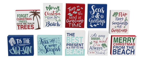Merry Christmas From the Beach Chunky Block Shelf Sitters Set of 10 Wood