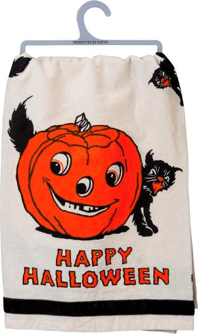 Happy Halloween Black Cat and Jack O Lantern Kitchen Dish Towel